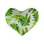 Fern Leaves Standard 16  Premium Flano Heart Shape Cushions Back