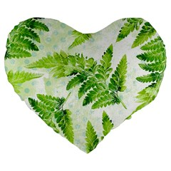 Fern Leaves Large 19  Premium Flano Heart Shape Cushions