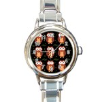 Halloween brown owls  Round Italian Charm Watch