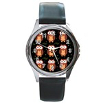 Halloween brown owls  Round Metal Watch