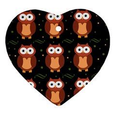 Halloween brown owls  Ornament (Heart)