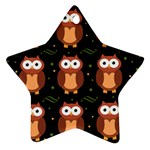 Halloween brown owls  Ornament (Star)