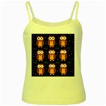 Halloween brown owls  Yellow Spaghetti Tank Front