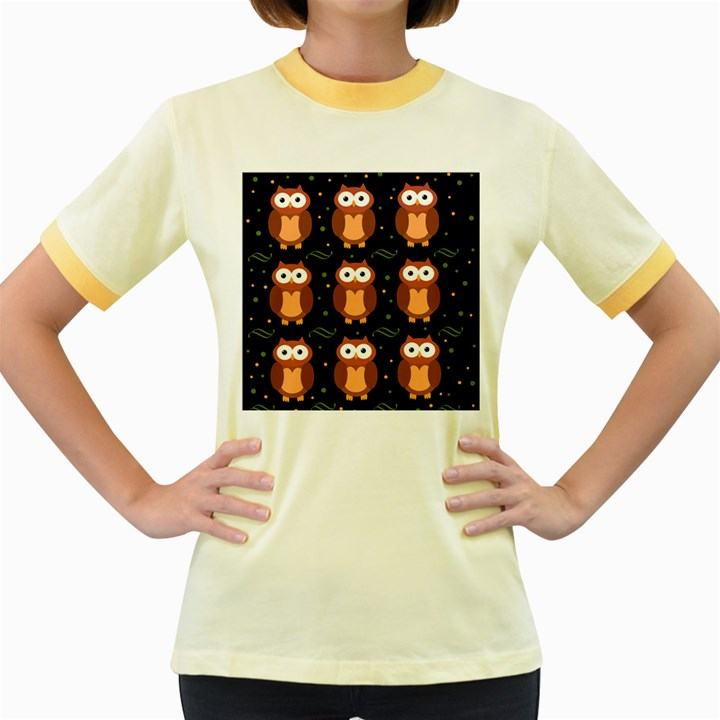 Halloween brown owls  Women s Fitted Ringer T-Shirts
