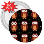 Halloween brown owls  3  Buttons (100 pack)