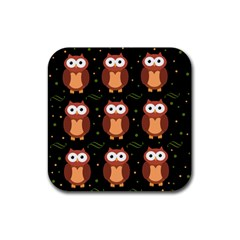Halloween brown owls  Rubber Square Coaster (4 pack)