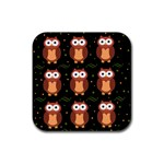 Halloween brown owls  Rubber Square Coaster (4 pack)  Front