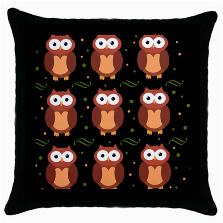 Halloween brown owls  Throw Pillow Case (Black)