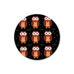 Halloween brown owls  Rubber Coaster (Round)