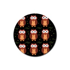 Halloween brown owls  Rubber Round Coaster (4 pack)