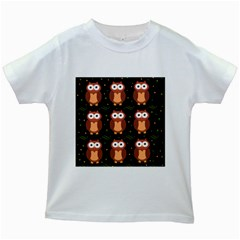 Halloween Brown Owls  Kids White T Shirts