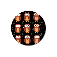 Halloween brown owls  Magnet 3  (Round)
