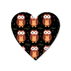 Halloween Brown Owls  Heart Magnet
