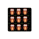 Halloween brown owls  Square Magnet