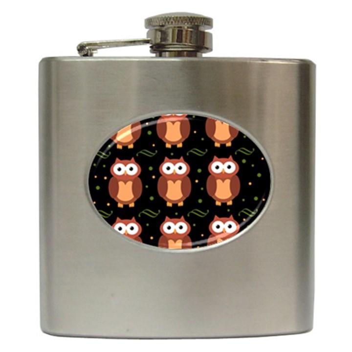 Halloween brown owls  Hip Flask (6 oz)