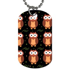 Halloween Brown Owls  Dog Tag (two Sides) by Valentinaart