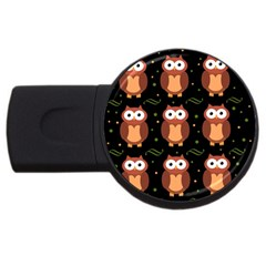 Halloween brown owls  USB Flash Drive Round (2 GB)
