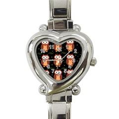 Halloween brown owls  Heart Italian Charm Watch