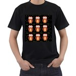 Halloween brown owls  Men s T-Shirt (Black) (Two Sided)
