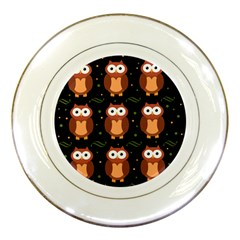 Halloween brown owls  Porcelain Plates