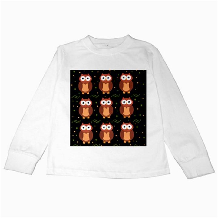 Halloween brown owls  Kids Long Sleeve T-Shirts