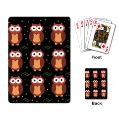 Halloween Brown Owls  Playing Card