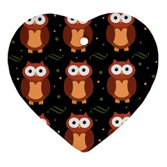 Halloween brown owls  Heart Ornament (2 Sides)