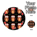Halloween brown owls  Playing Cards 54 (Round)  Front - Heart7