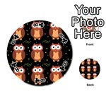 Halloween brown owls  Playing Cards 54 (Round)  Front - Club8