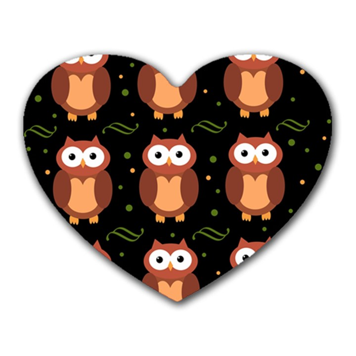Halloween brown owls  Heart Mousepads