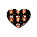 Halloween brown owls  Heart Coaster (4 pack)  Front