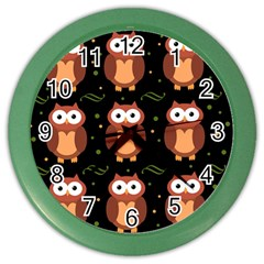 Halloween Brown Owls  Color Wall Clocks