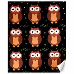 Halloween brown owls  Canvas 11  x 14