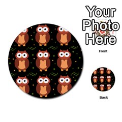 Halloween Brown Owls  Multi Purpose Cards (round)