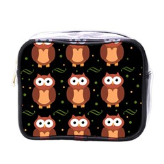 Halloween Brown Owls  Mini Toiletries Bags by Valentinaart