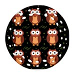 Halloween brown owls  Round Filigree Ornament (2Side) Back