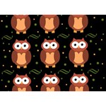 Halloween brown owls  Ribbon 3D Greeting Card (7x5) Front