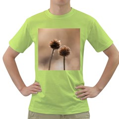 Withered Globe Thistle In Autumn Macro Green T Shirt