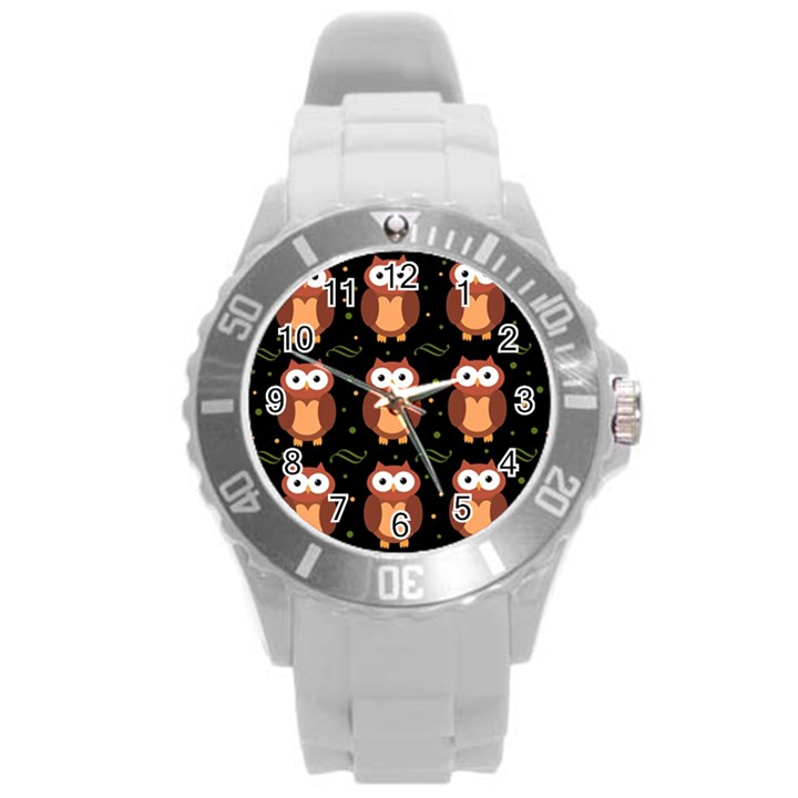 Halloween brown owls  Round Plastic Sport Watch (L)