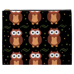 Halloween brown owls  Cosmetic Bag (XXXL)