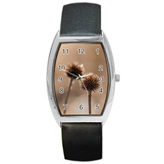 Withered Globe Thistle In Autumn Macro Barrel Style Metal Watch by wsfcow