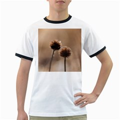 Withered Globe Thistle In Autumn Macro Ringer T Shirts