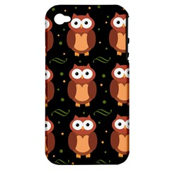 Halloween Brown Owls  Apple Iphone 4/4s Hardshell Case (pc+silicone) by Valentinaart