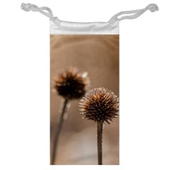 Withered Globe Thistle In Autumn Macro Jewelry Bags by wsfcow