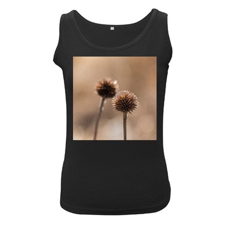 Withered Globe Thistle In Autumn Macro Women s Black Tank Top