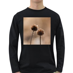 Withered Globe Thistle In Autumn Macro Long Sleeve Dark T Shirts