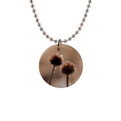 Withered Globe Thistle In Autumn Macro Button Necklaces by wsfcow