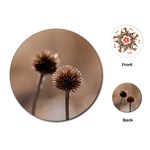Withered Globe Thistle In Autumn Macro Playing Cards (Round)