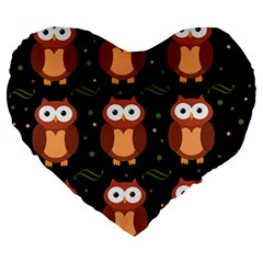 Halloween brown owls  Large 19  Premium Heart Shape Cushions