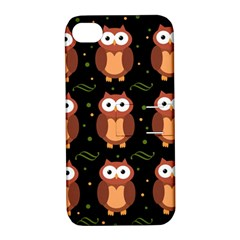 Halloween Brown Owls  Apple Iphone 4/4s Hardshell Case With Stand by Valentinaart